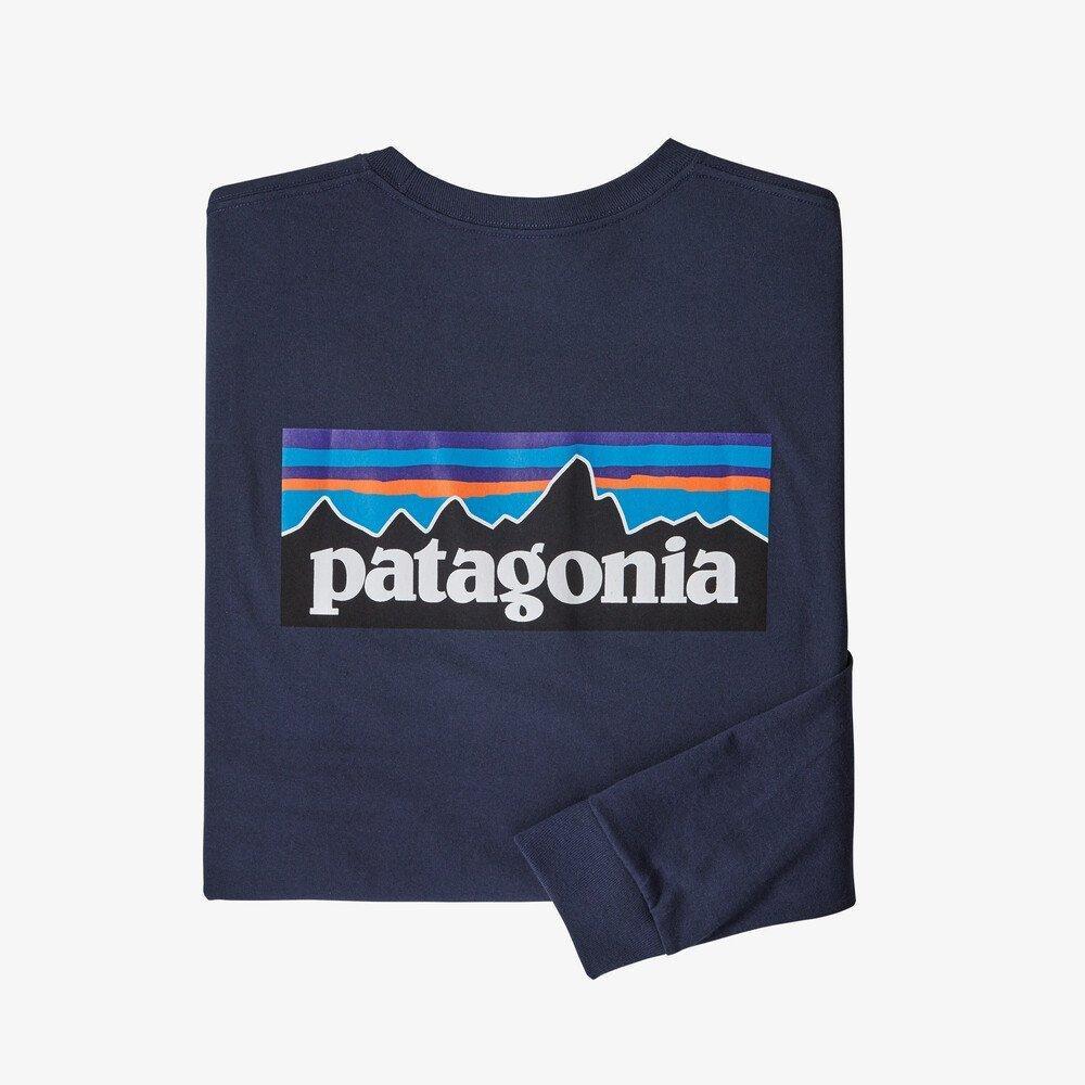 Patagonia Men's Long-Sleeved P6 Logo Responsibili-Tee - Navy