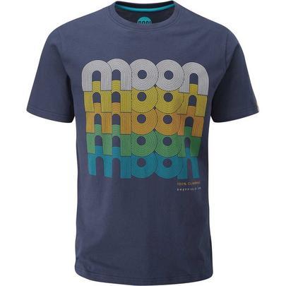 Moon Men's Fade Logo Organic Cotton Tee - Blue