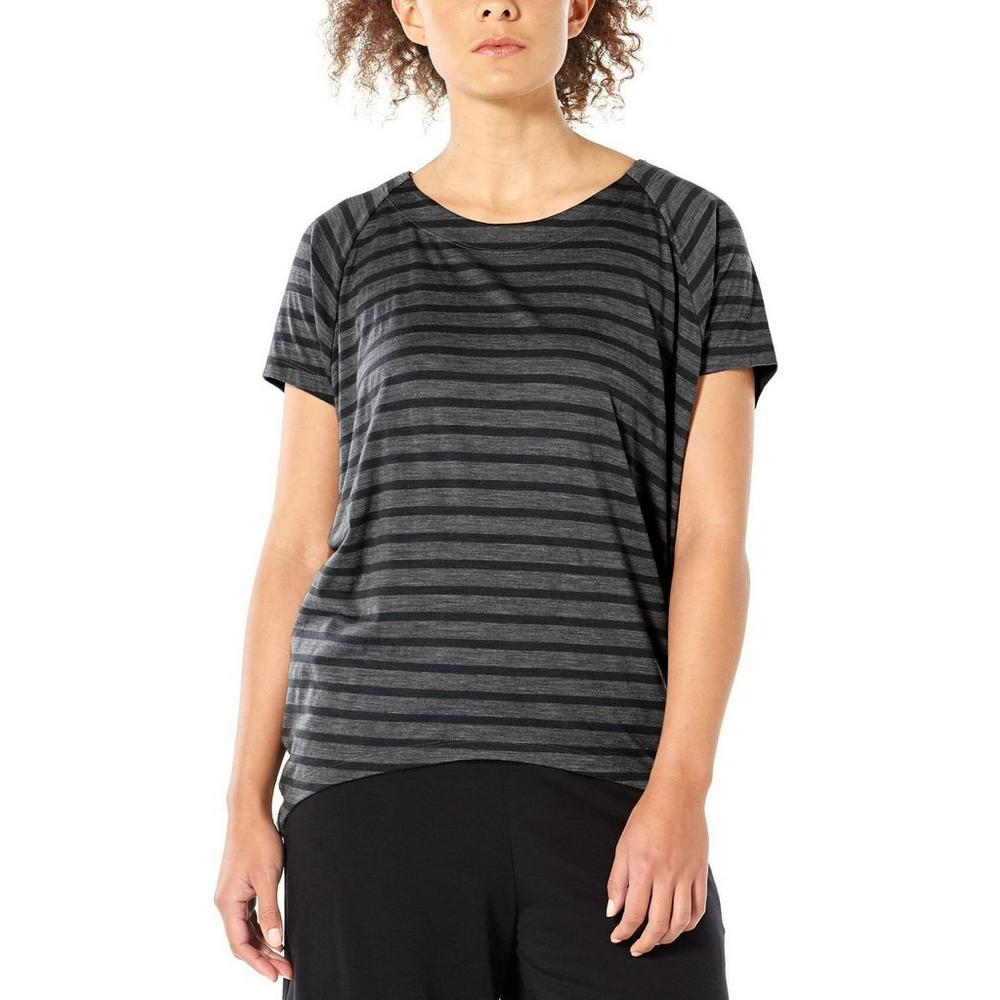 Icebreaker Women's Elowen Short Sleeve Crewe- Stripe-Monsoon