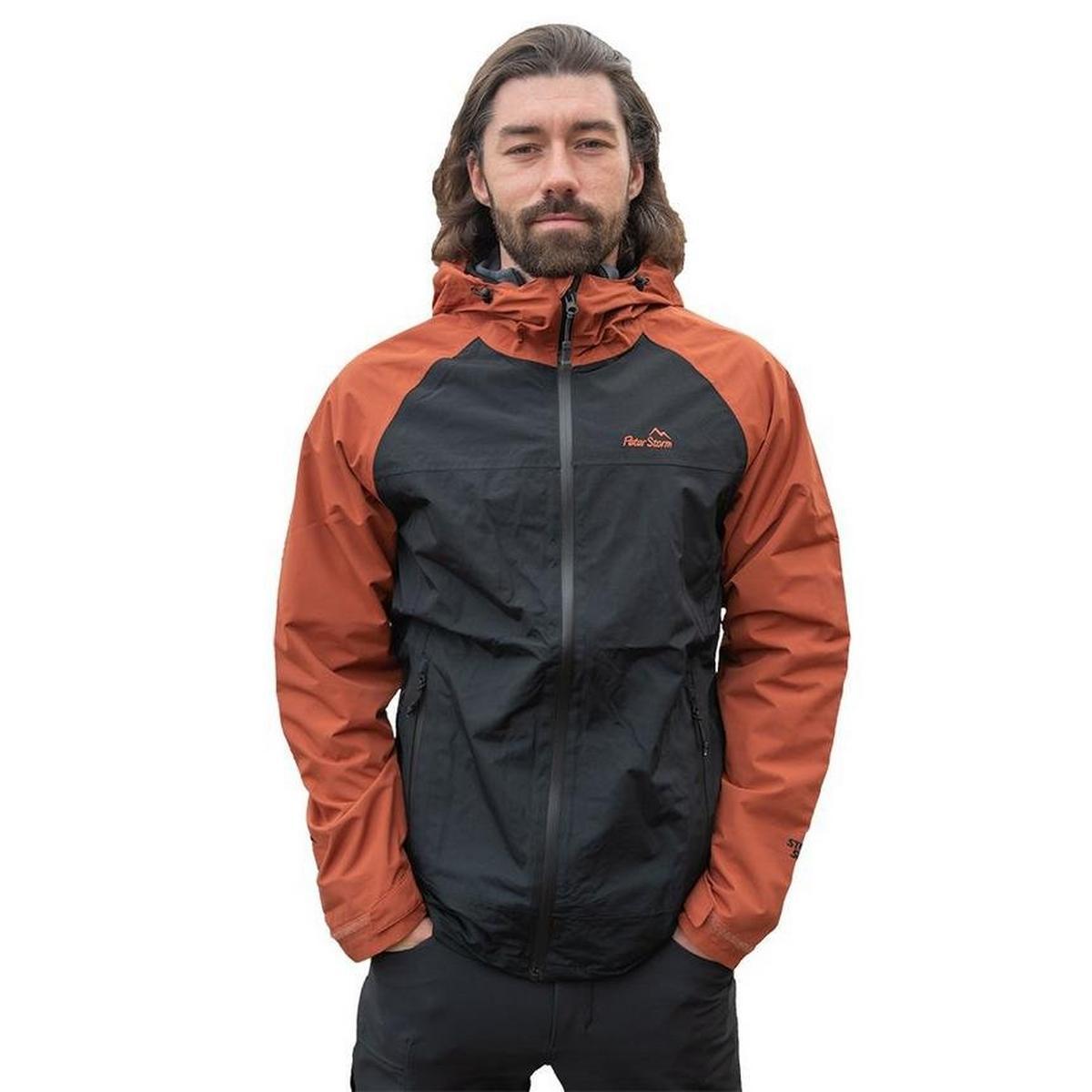 Peter Storm Men's Colour Block Waterproof Jacket - Black/Orange