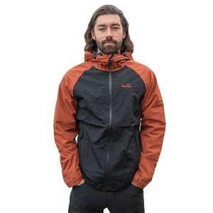 Men's Colour Block Waterproof Jacket - Black/Orange