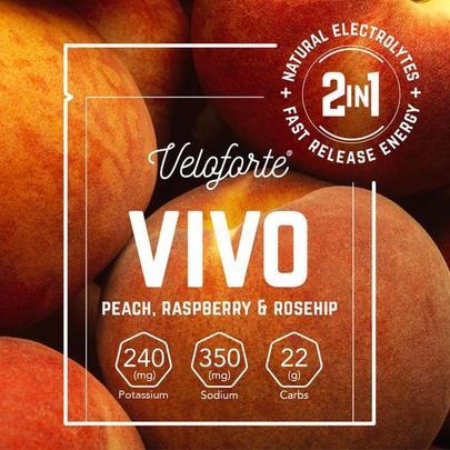 Veloforte Vivo Electrolyte & Energy Powder - Single - Peach, Raspberry & Rosehip