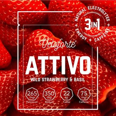Veloforte Attivo Energy & Caffeine Powder - Single - Wild Strawberry & Basil