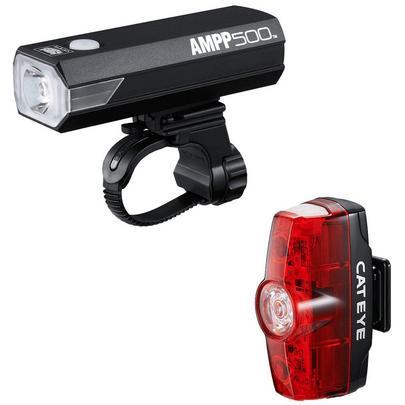 Cateye Ampp 500 & Rapid Mini Front and Rear Bike Light Set