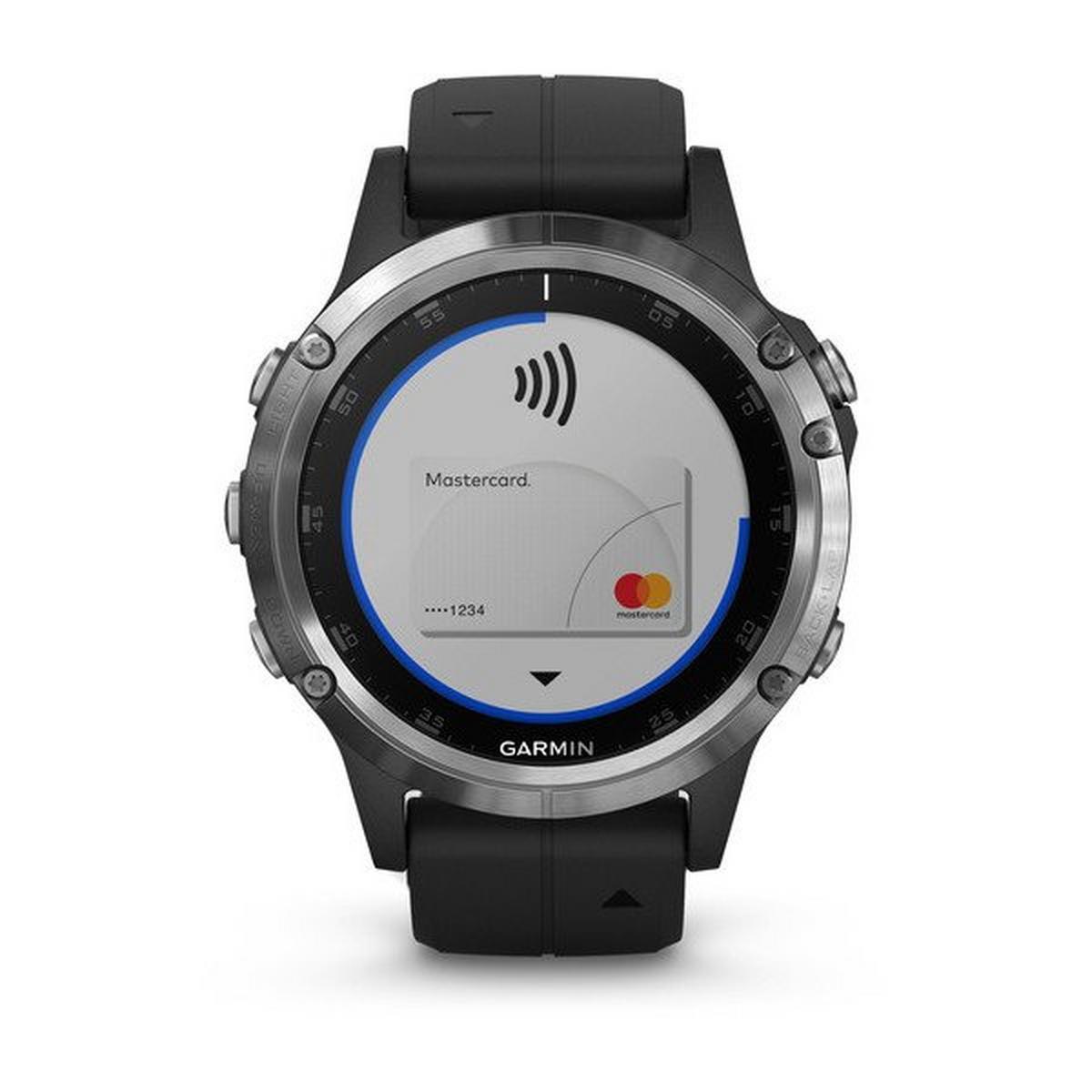 Garmin GPS Watch  Fenix 5 Plus Silver with Black Band