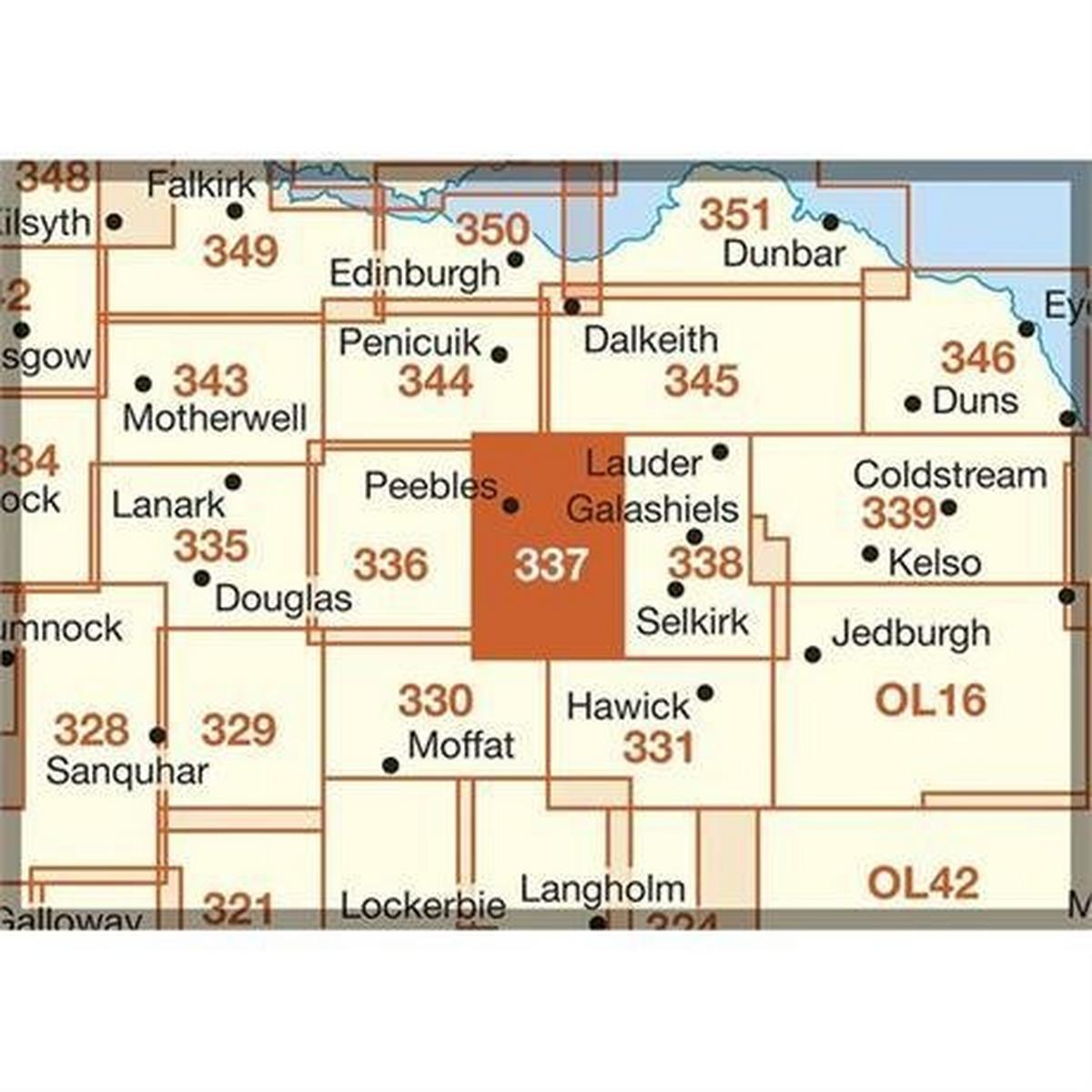 Ordnance Survey OS Explorer Map 337 Peebles and Innerleithen