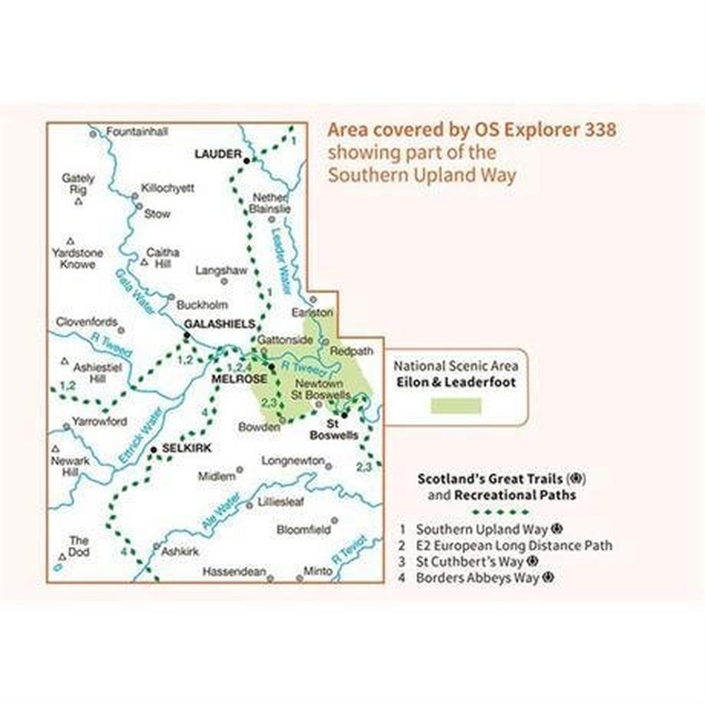 Ordnance Survey OS Explorer Map 338 Galashiels, Selkirk and Melrose