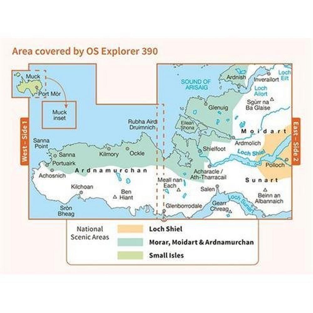 Ordnance Survey OS Explorer Map OL390 Ardnamurchan, Moidart, Sunart & Loch Shin
