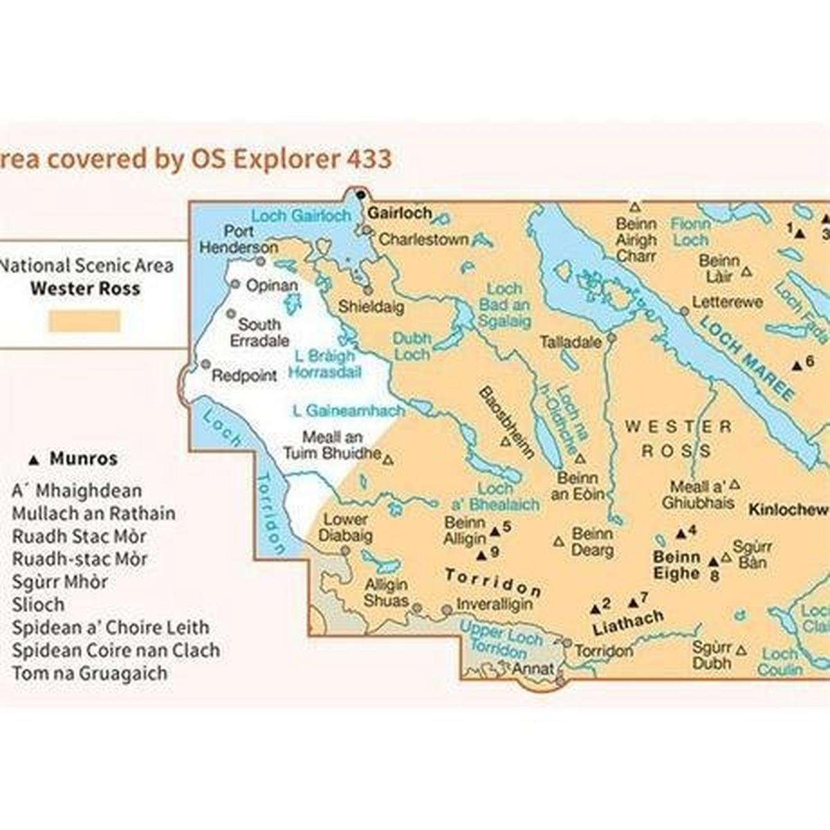 Ordnance Survey OS Explorer Map 433 Torridon - Beinn Eighe and Liathach