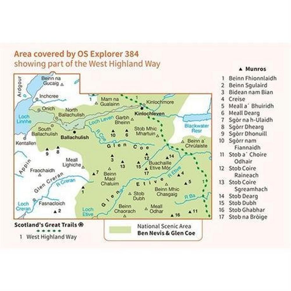 Ordnance Survey OS Explorer ACTIVE Map 384 Glen Coe & Glen Etive