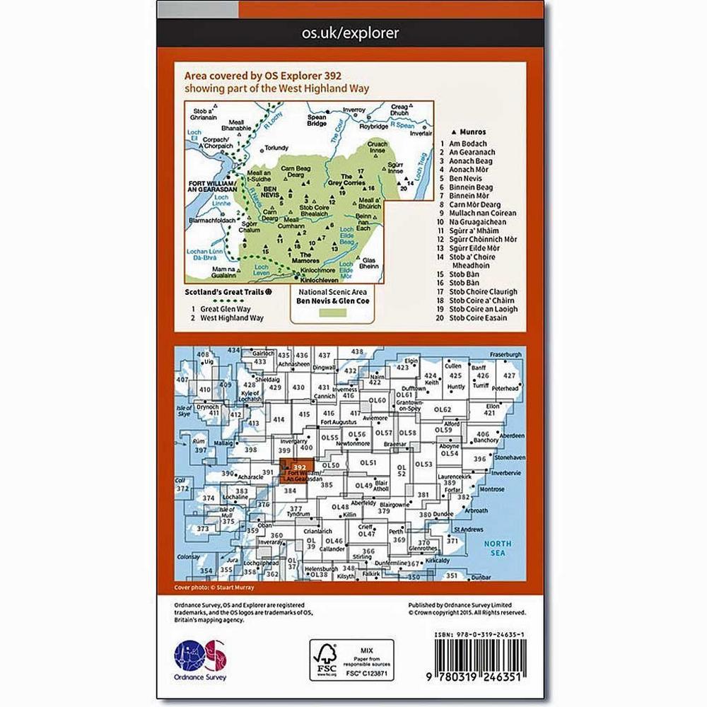 Ordnance Survey OS Explorer ACTIVE Map 392 Ben Nevis and Fort William