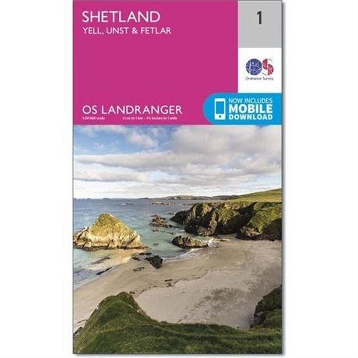 Ordnance Survey OS Landranger Map 01 Shetland - Yell, Unst and Fetlar