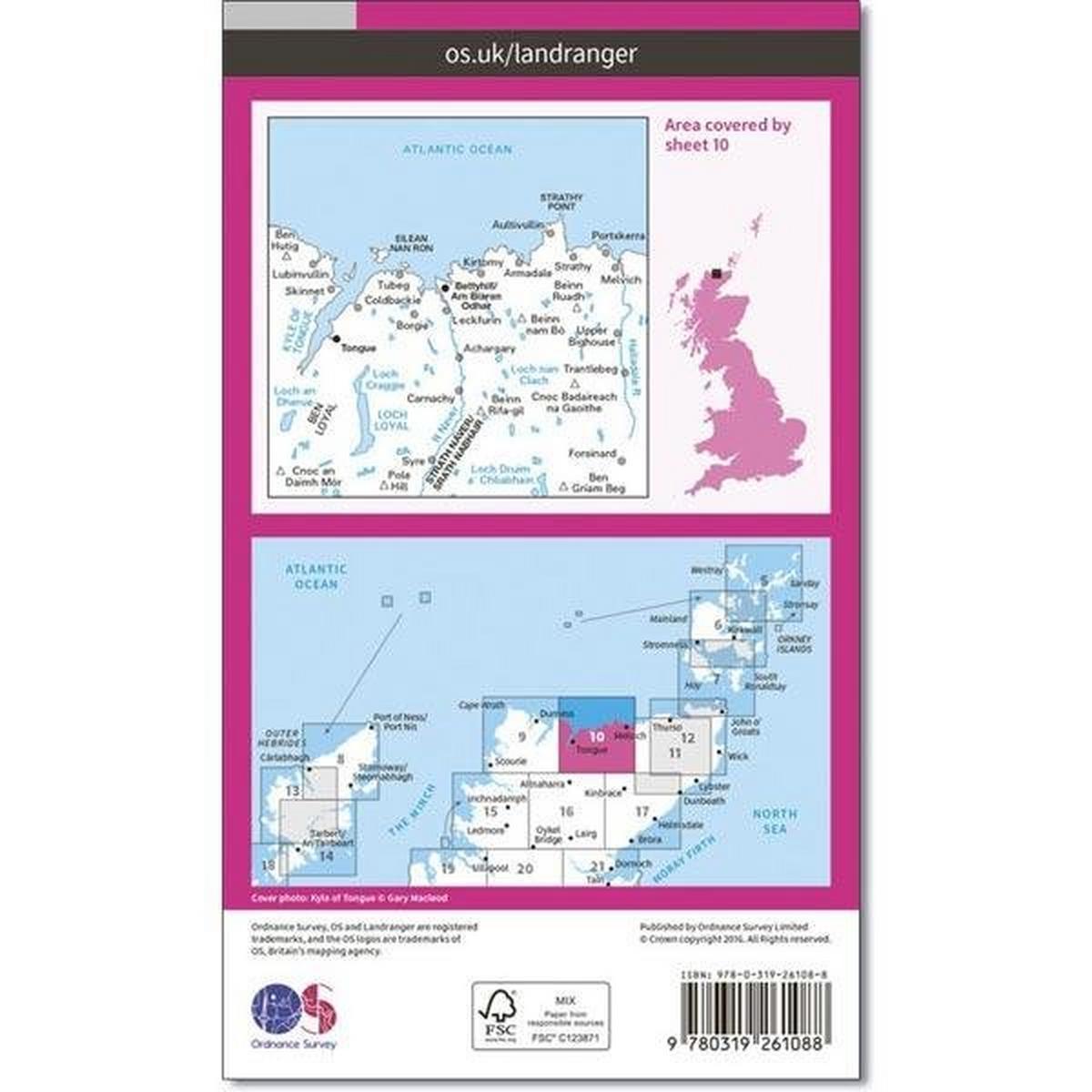 Ordnance Survey OS Landranger Map 10 Strath Naver, Bettyhill & Tongue