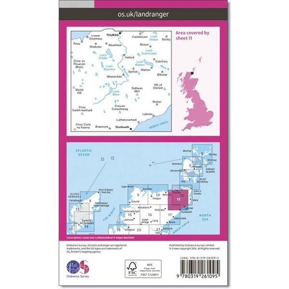 Ordnance Survey OS Landranger Map 11 Thurso & Dunbeath