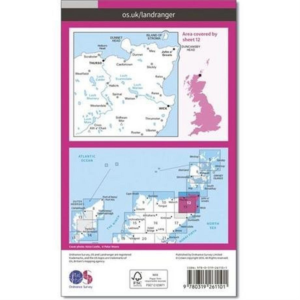 Ordnance Survey OS Landranger Map 12 Thurso & Wick, John O'Groats