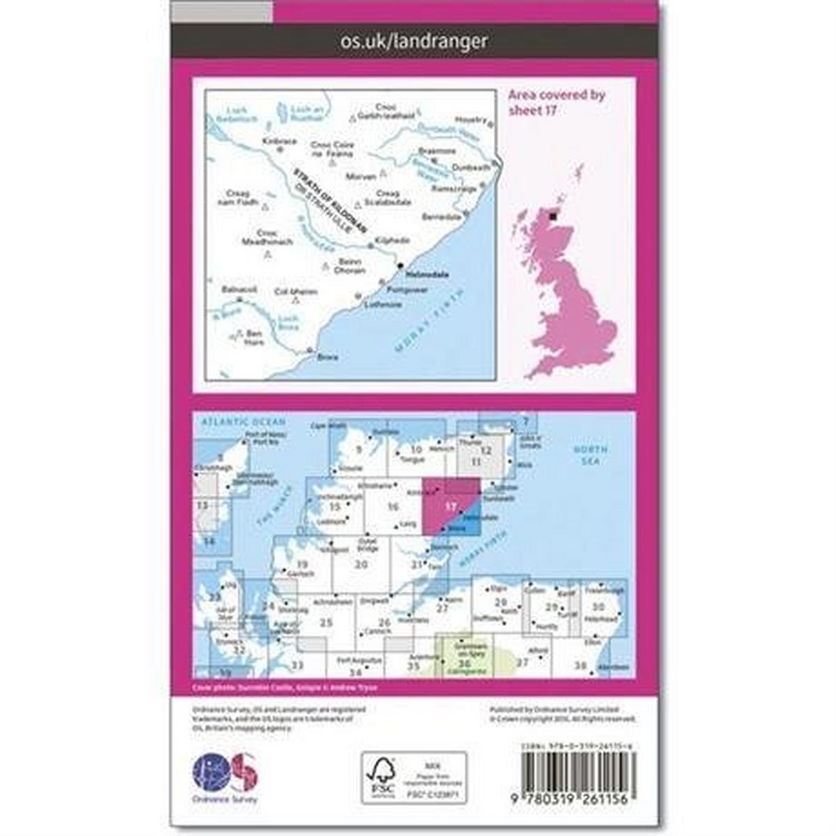 Ordnance Survey OS Landranger Map 17 Helmsdale & Strath of Kildonan