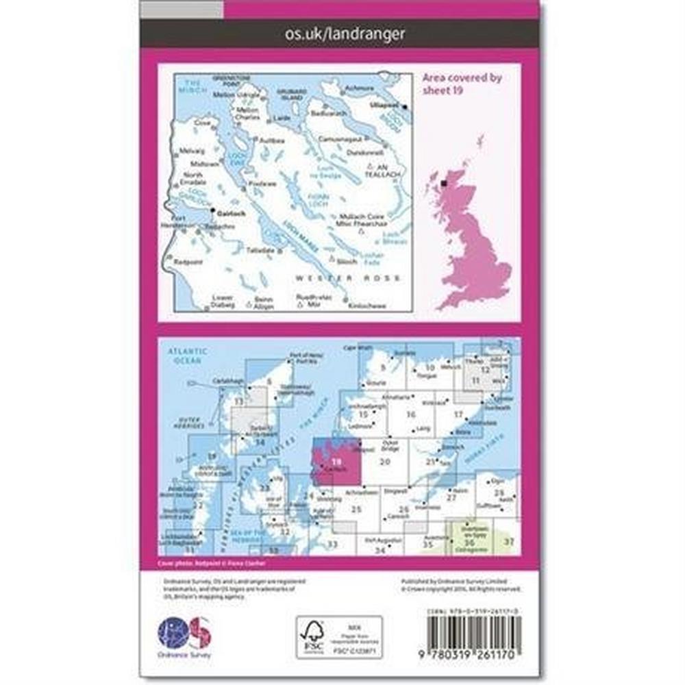 Ordnance Survey OS Landranger Map 19 Gairloch & Ullapool, Loch Maree
