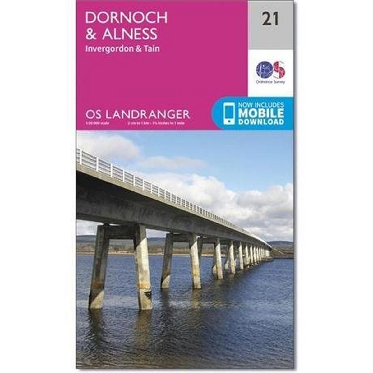 Ordnance Survey OS Landranger Map 21 Dornoch & Alness, Invergordon & Tain