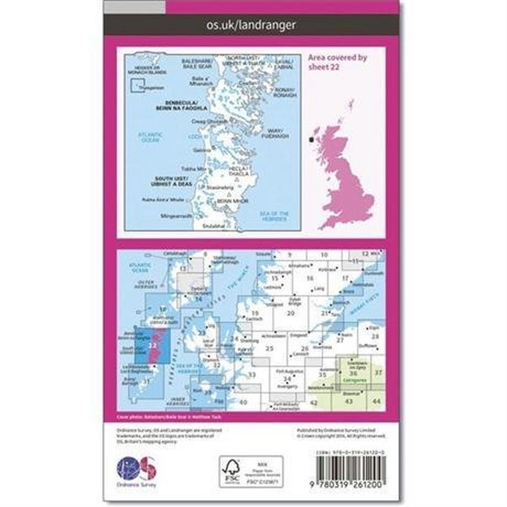 Ordnance Survey OS Landranger Map 22 Benbecula & South Uist