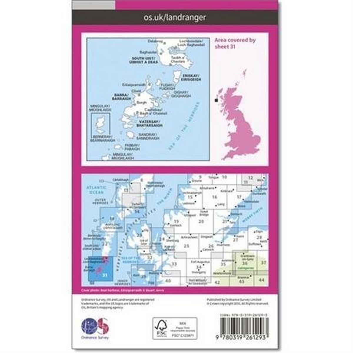 Ordnance Survey OS Landranger Map 31 Barra & South Uist, Vatersay & Eriskay
