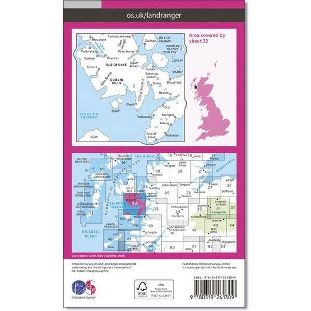Ordnance Survey OS Landranger Map 32 South Skye & Cuillin Hills