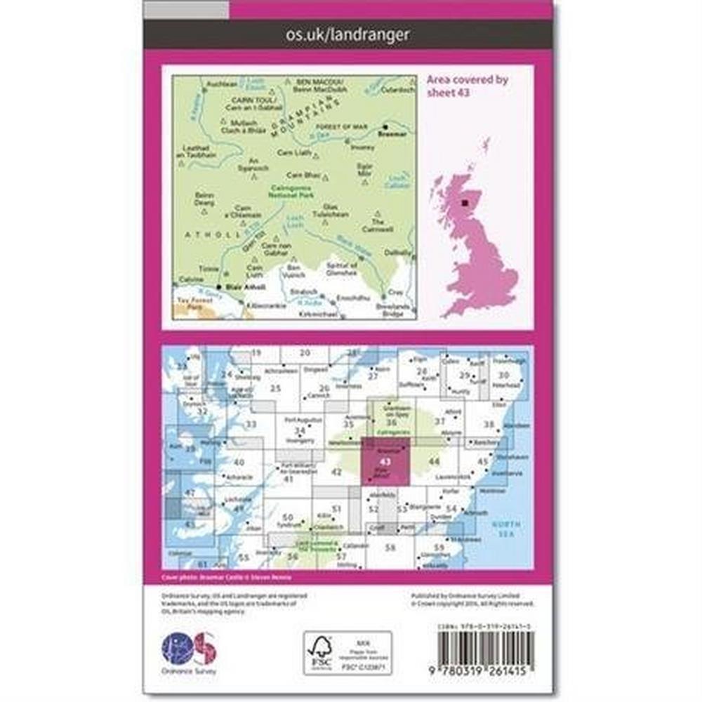 Ordnance Survey OS Landranger Map 43 Braemar & Blair Atholl