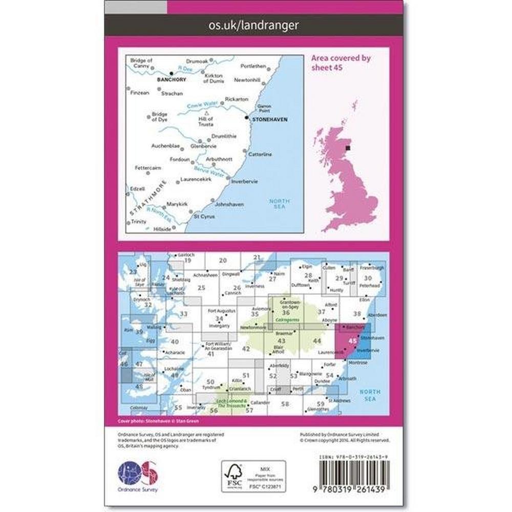 Ordnance Survey OS Landranger Map 45 Stonehaven & Banchory