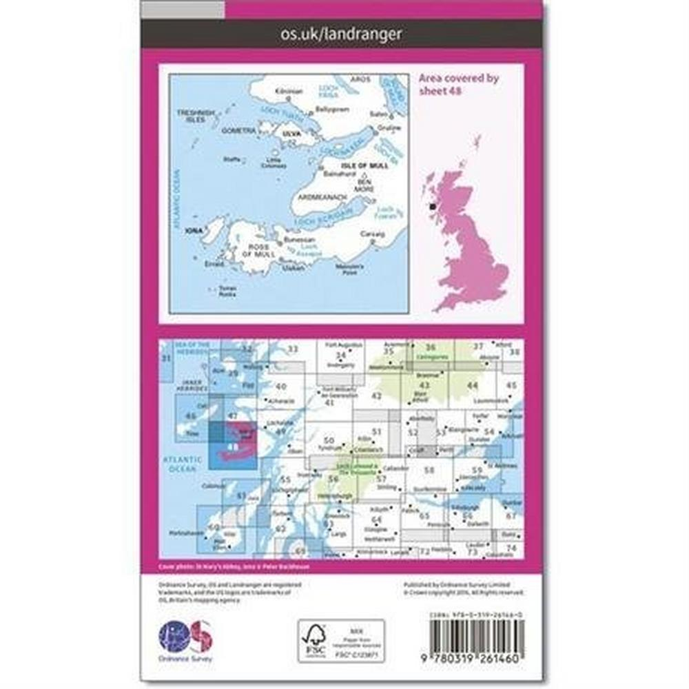 Ordnance Survey OS Landranger Map 48 Iona & West Mull, Ulva