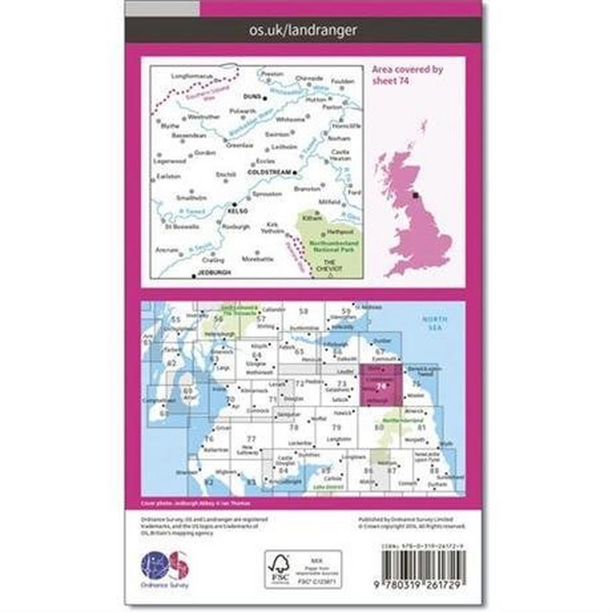 Ordnance Survey OS Landranger Map 74: Kelso & Coldstream, Jedburgh & Duns