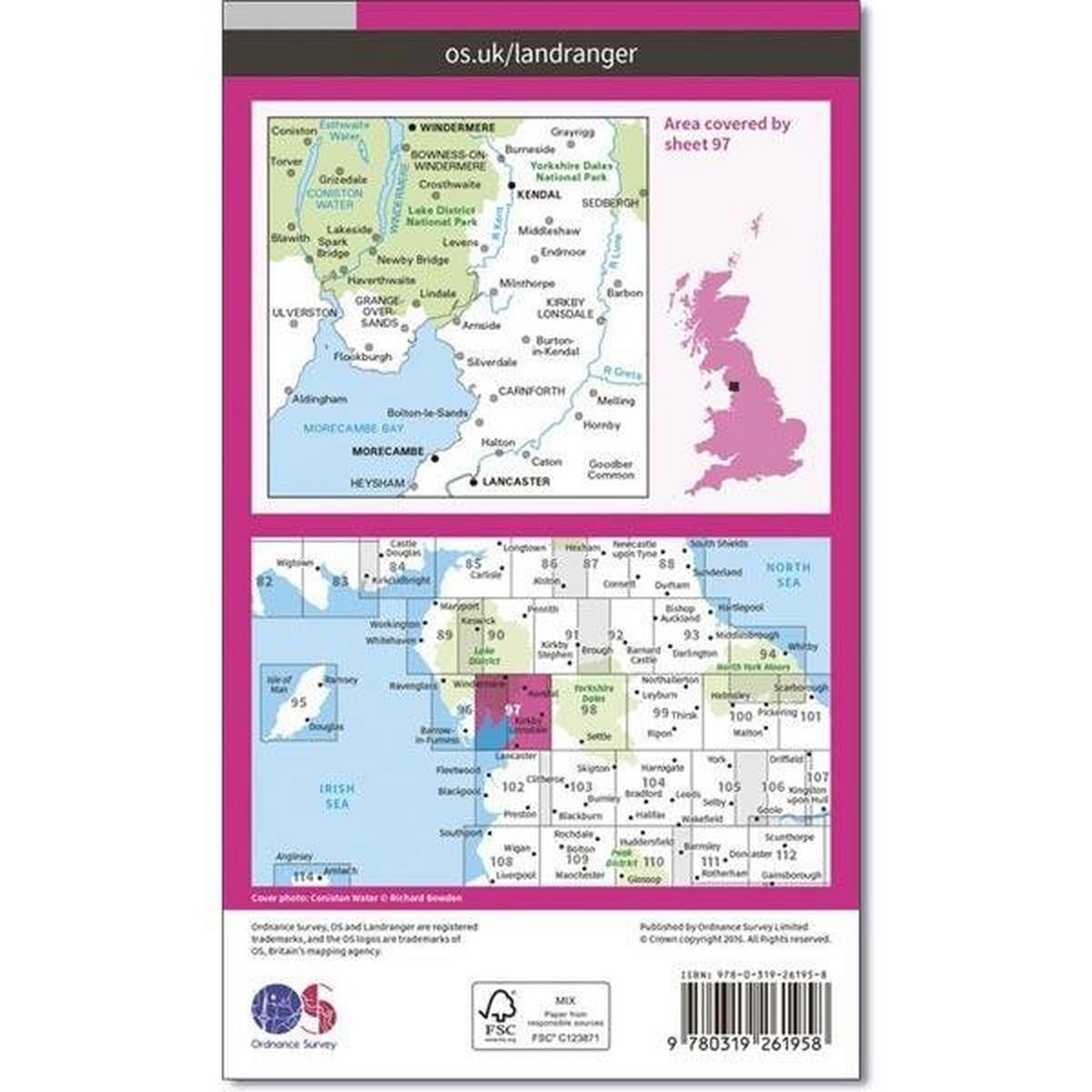 Ordnance Survey OS Landranger Map 97 Kendal, Morecambe, Windermere & Lancaster