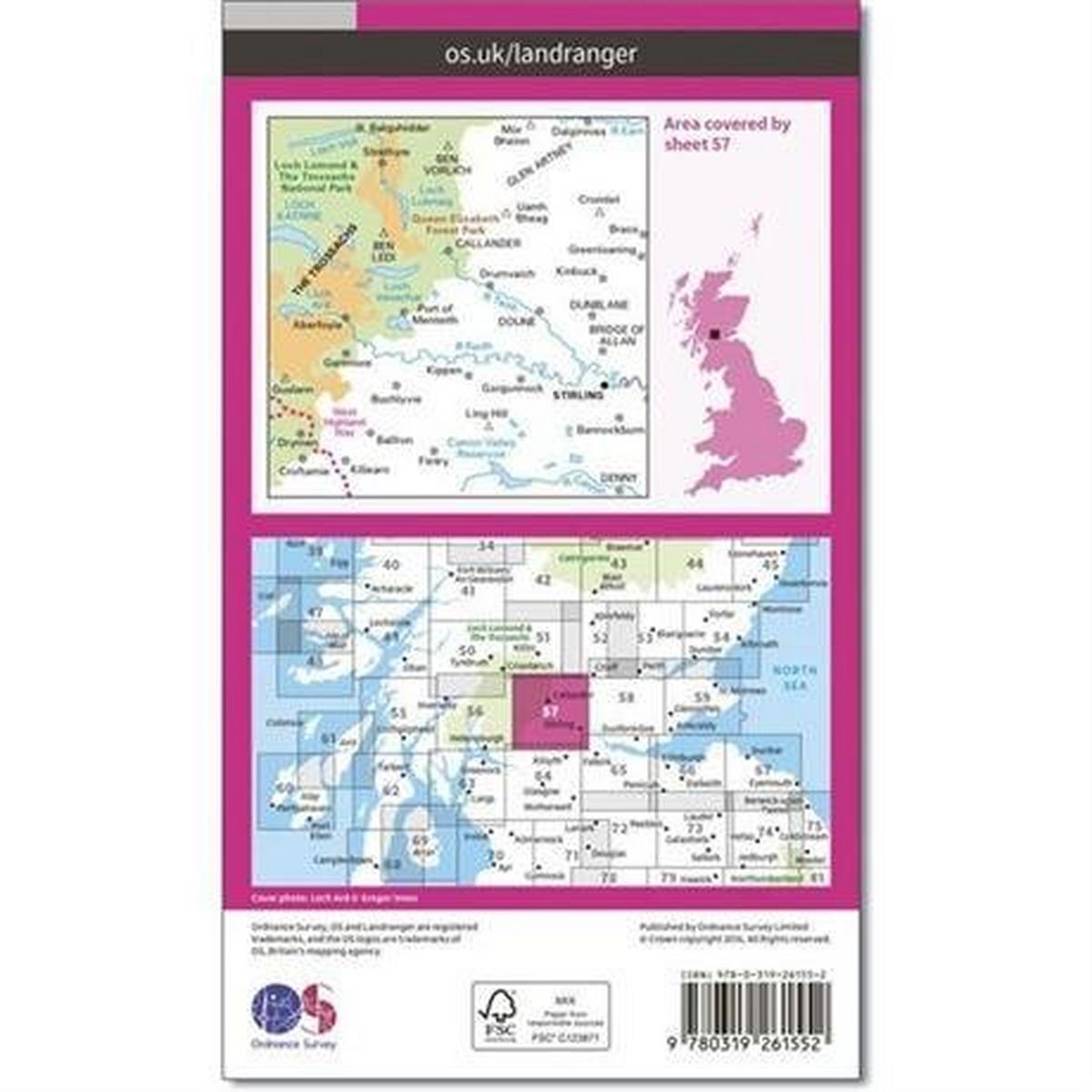 Ordnance Survey OS Landranger ACTIVE Map 57 Stirling & The Trossachs