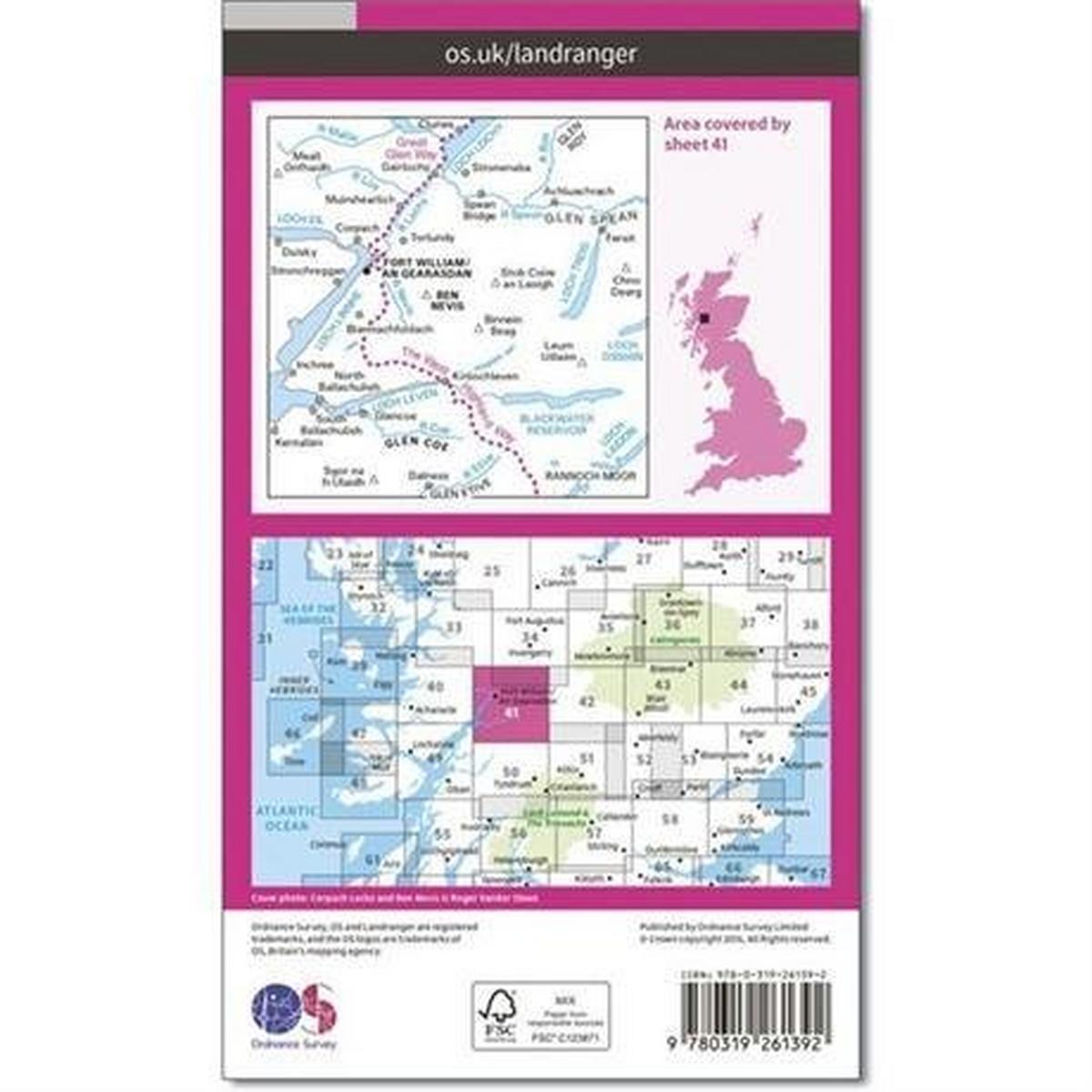 Ordnance Survey OS Landranger ACTIVE Map 41 Ben Nevis, Fort William & Glen Coe