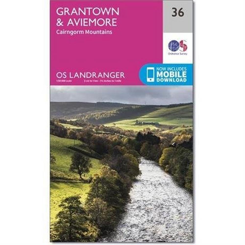 Ordnance Survey OS Landranger ACTIVE Map 36 Grantown, Aviemore & Cairngorm Mountains
