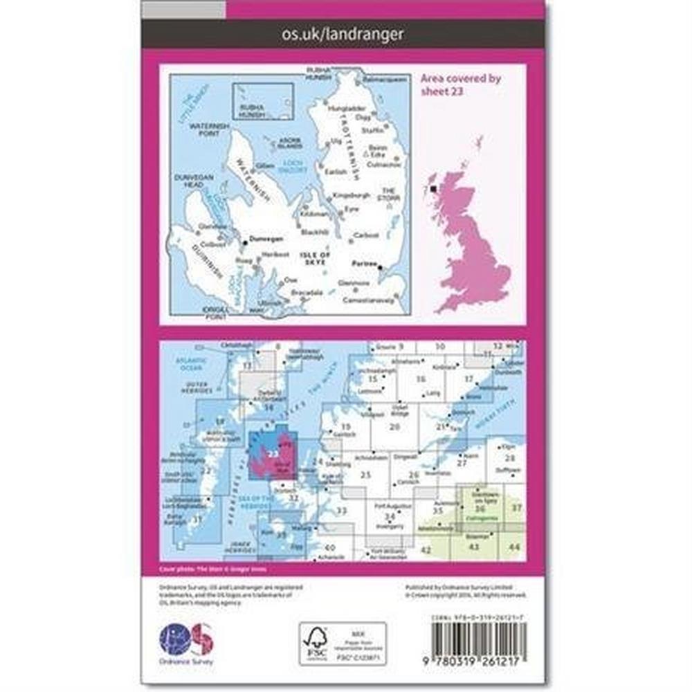 Ordnance Survey OS Landranger ACTIVE Map 23 North Skye, Dunvegan & Portree