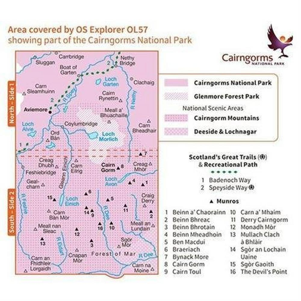 Ordnance Survey OS Explorer Map OL57 Cairngorm and Aviemore