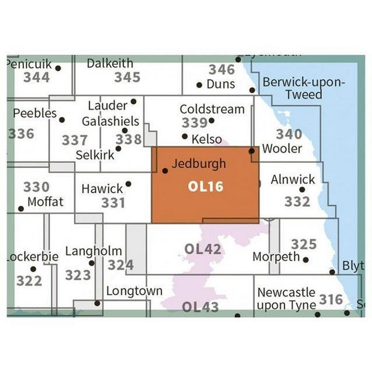 Ordnance Survey OS Explorer OL16 The Cheviot Hills Map