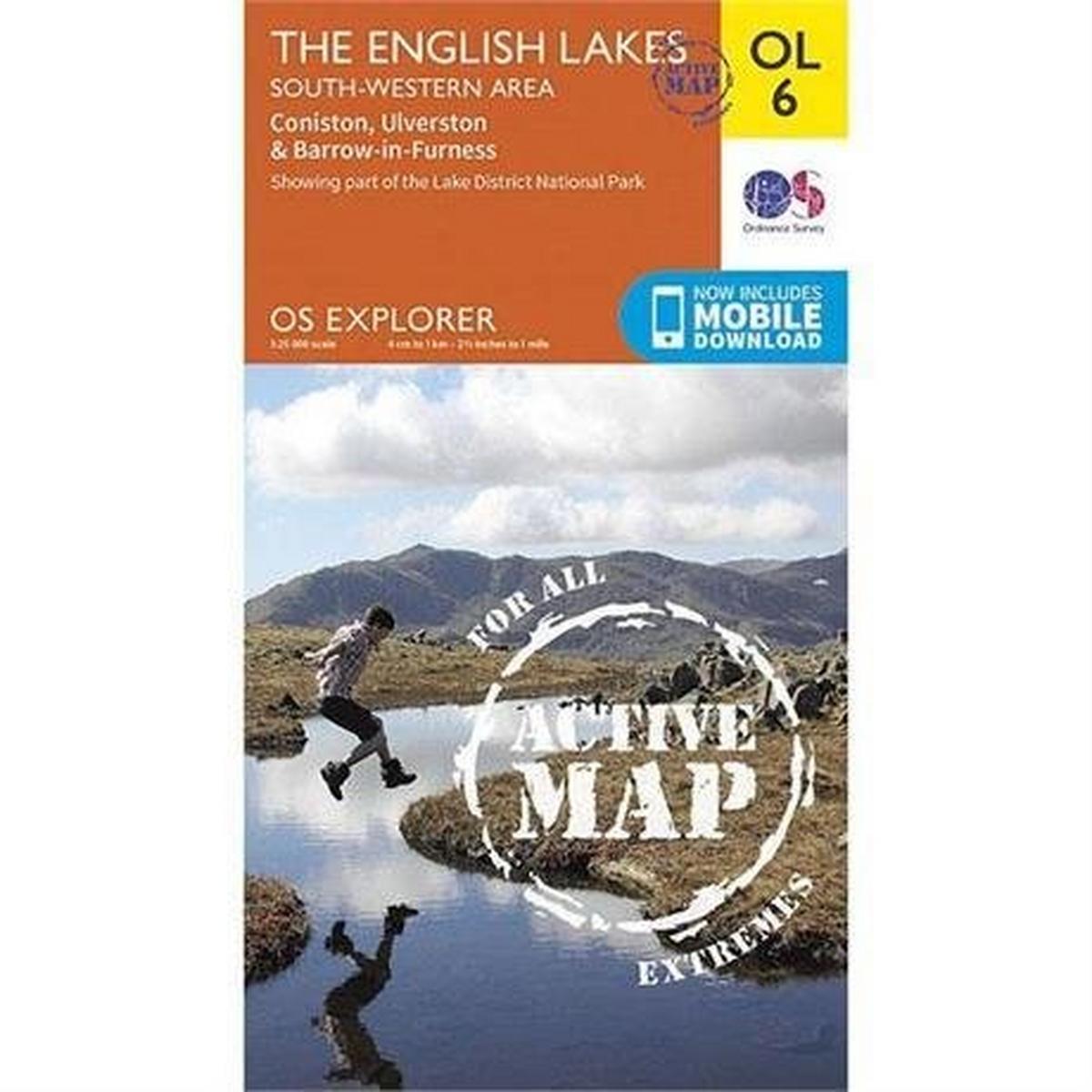 Ordnance Survey OS Explorer ACTIVE Map OL6 The English Lakes - South Western