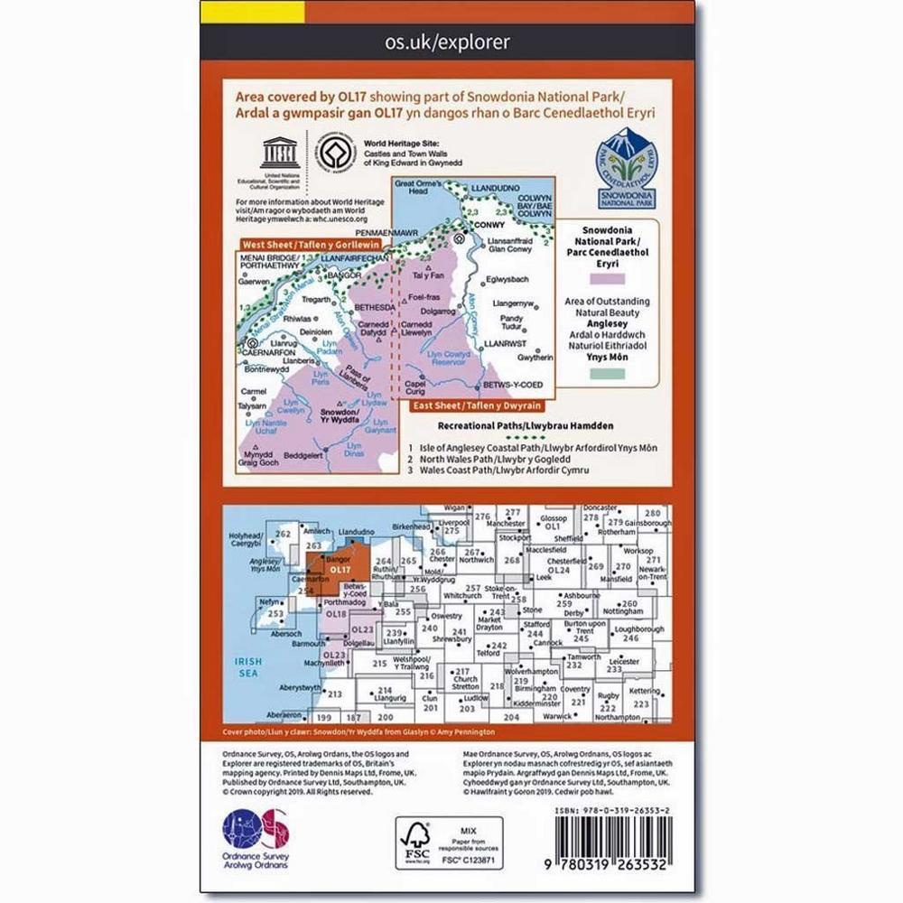 Ordnance Survey OS Explorer ACTIVE Map OL17 Snowdon / Yr Wyddfa