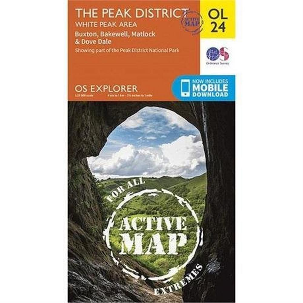 Ordnance Survey OS Explorer ACTIVE Map OL24 The Peak District - White Peak