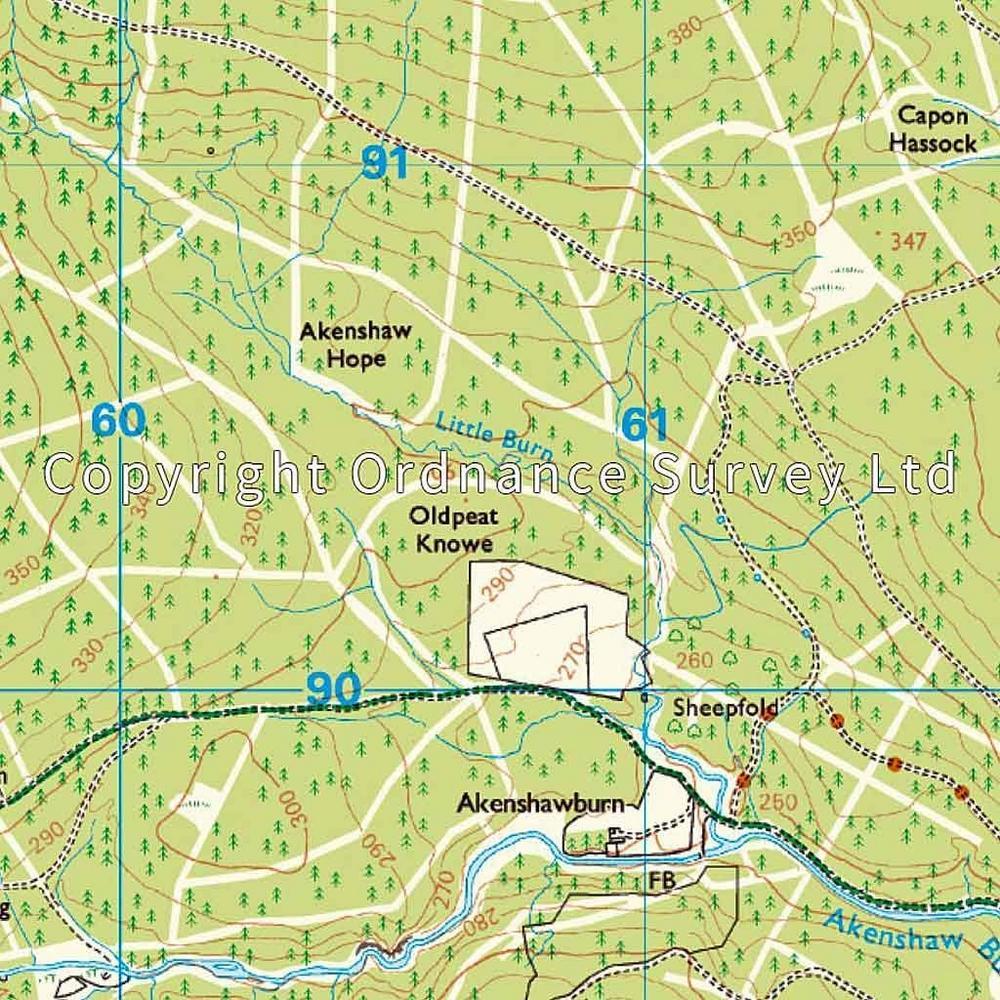 Ordnance Survey OS Explorer ACTIVE Map OL42 Kielder Water & Forest