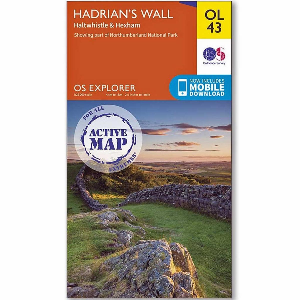Ordnance Survey OS Explorer ACTIVE Map OL43 Hadrian's Wall