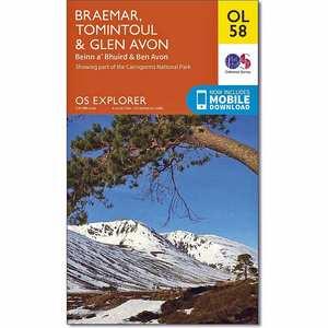 OS Explorer ACTIVE Map OL58 Braemar, Tomintoul & Glen Avon
