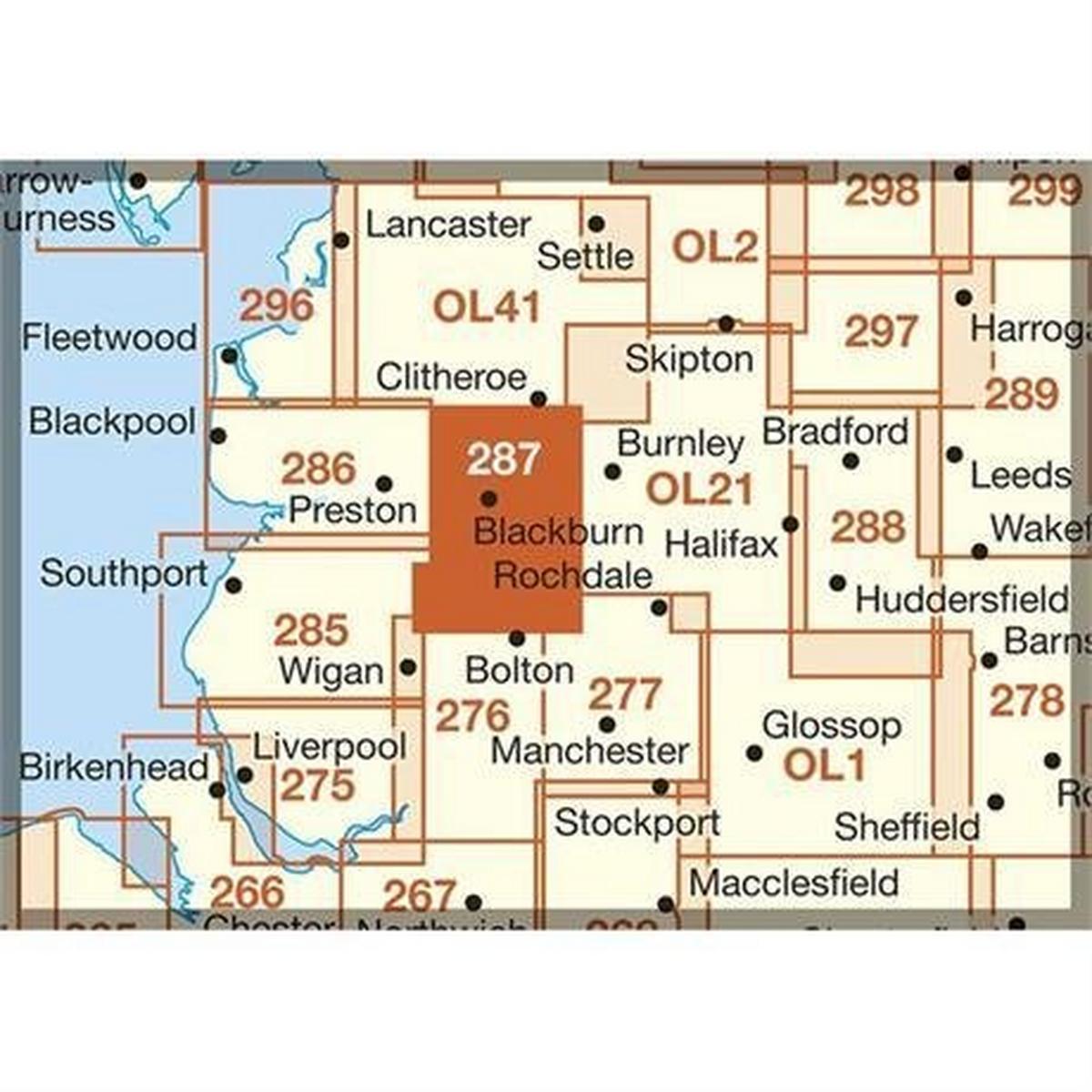 Ordnance Survey OS Explorer ACTIVE Map 287 West Pennine Moors