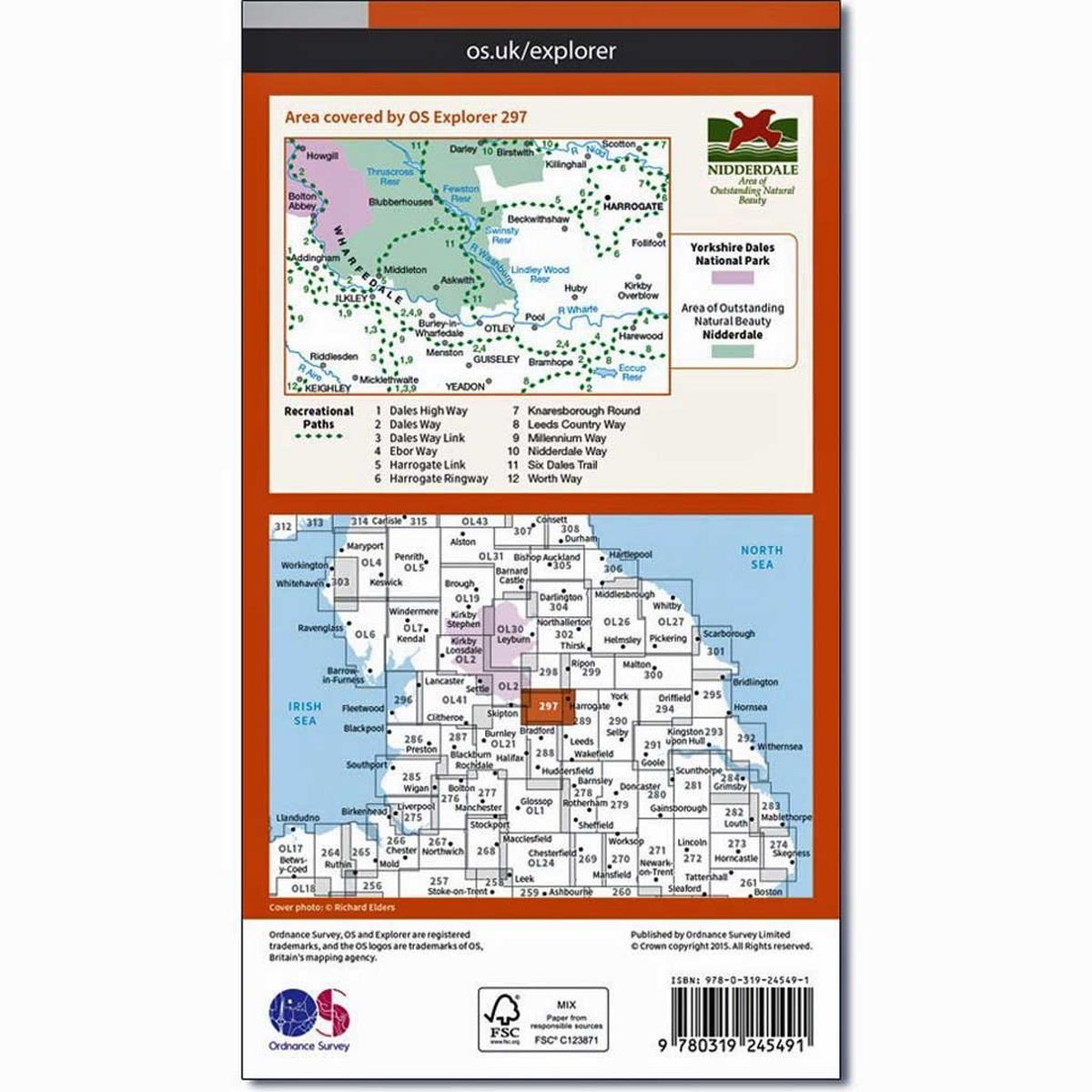 Ordnance Survey OS Explorer ACTIVE Map 297 Lower Wharfedale and Washburn Valley