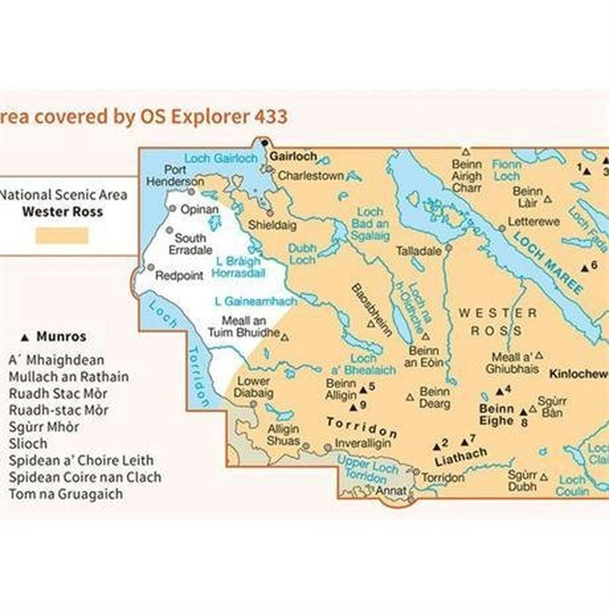 Ordnance Survey OS Explorer ACTIVE Map 433 Torridon - Beinn Eighe and Liathach