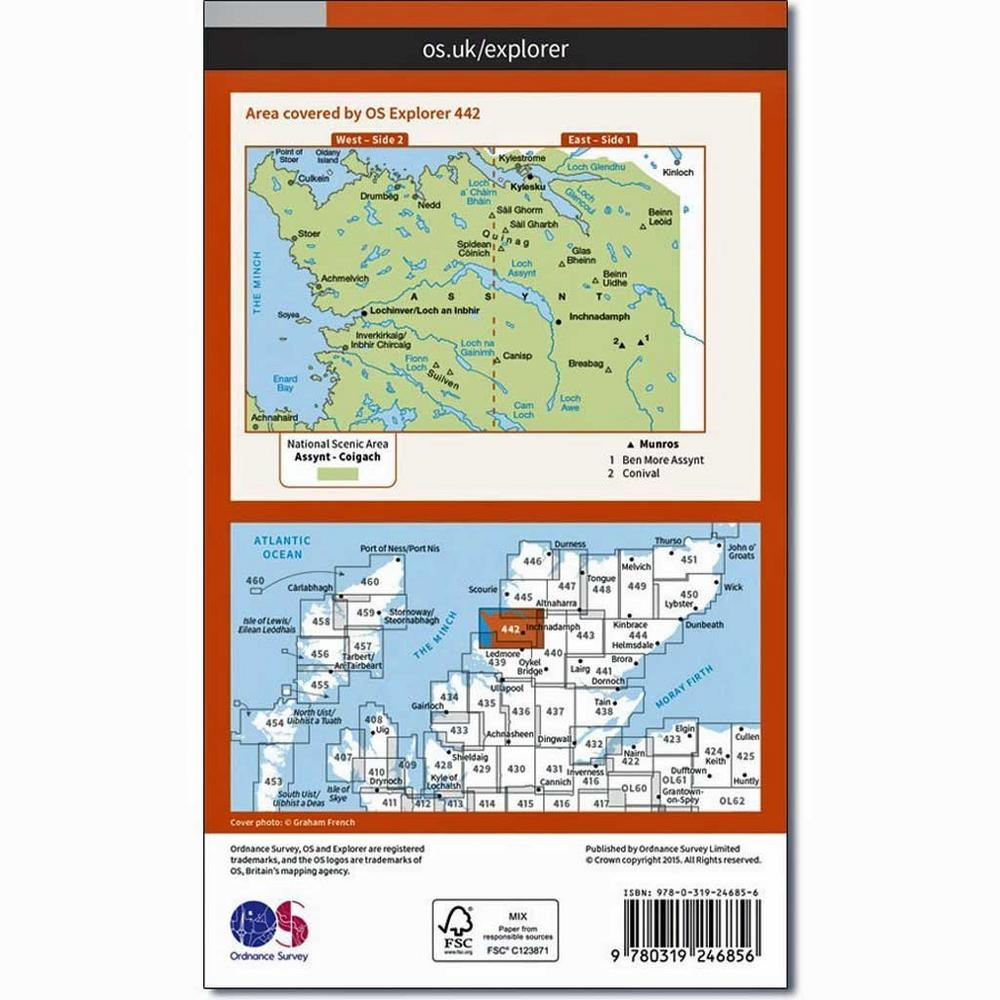 Ordnance Survey OS Explorer ACTIVE Map 442 Assynt and Lochinver
