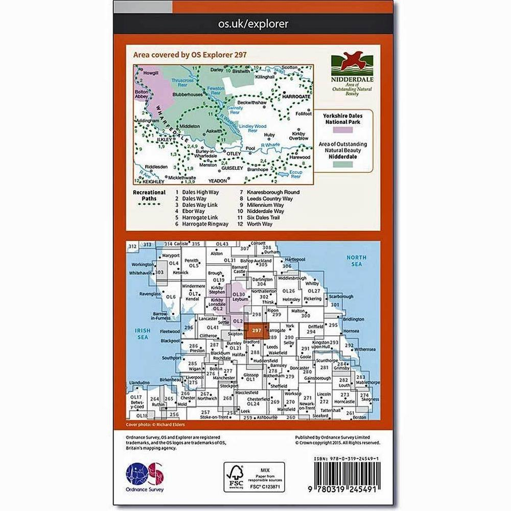 Ordnance Survey OS Explorer Map 297 Lower Wharfedale and Washburn Valley