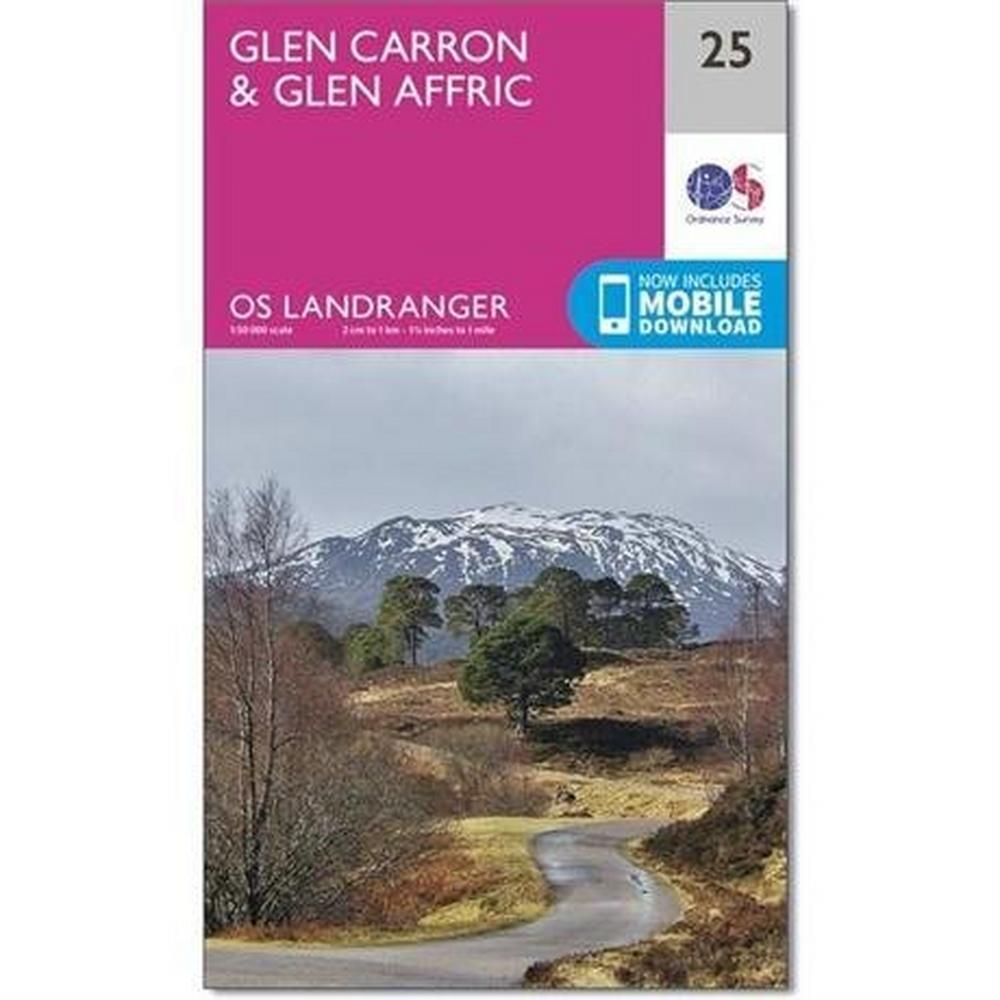 Ordnance Survey OS Landranger ACTIVE Map 25 Glen Carron & Glen Affric