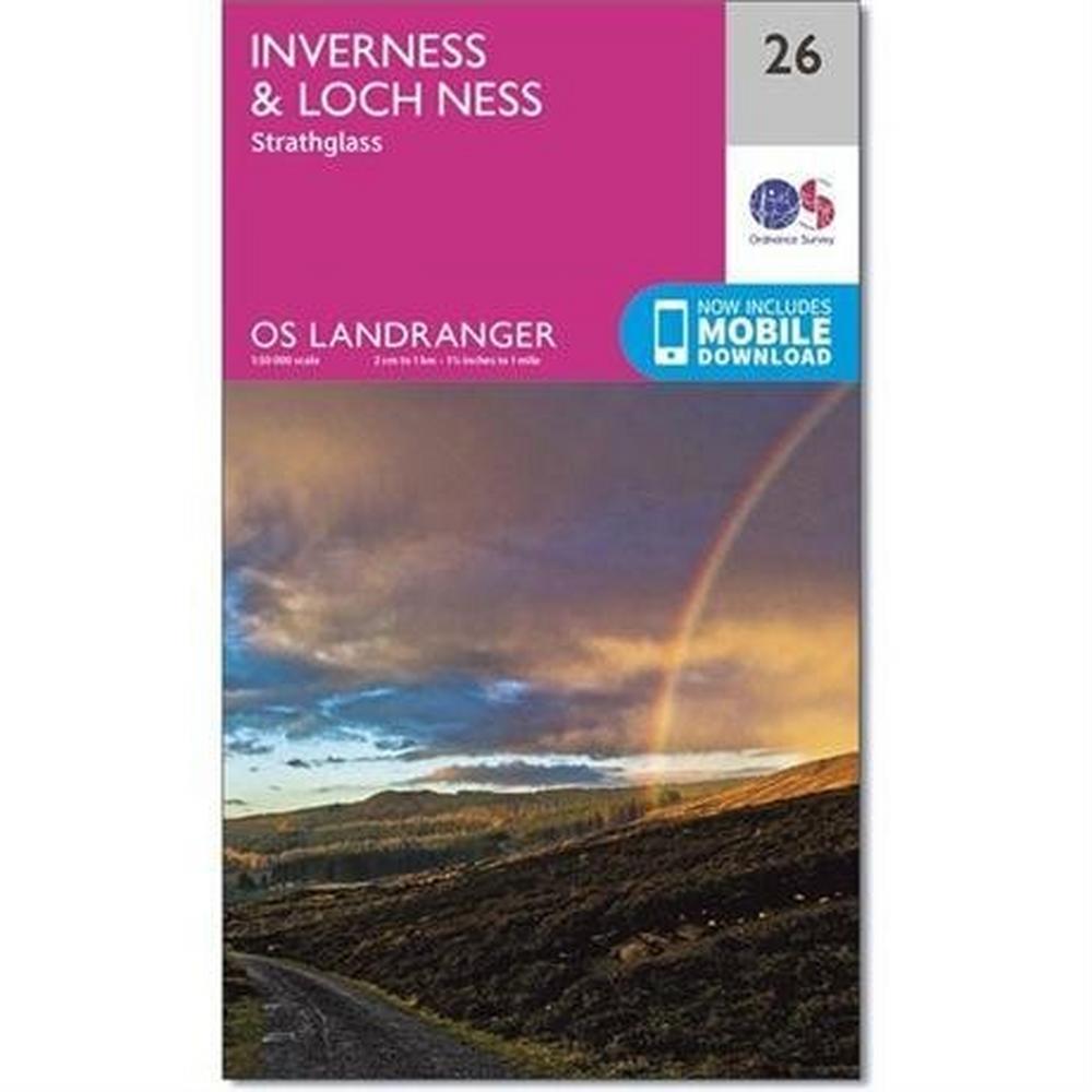 Ordnance Survey OS Landranger ACTIVE Map 26 Inverness & Loch Ness, Strathglass