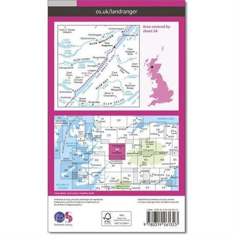 Ordnance Survey OS Landranger ACTIVE Map 34 Fort Augustus, Glen Roy & Glen Moriston